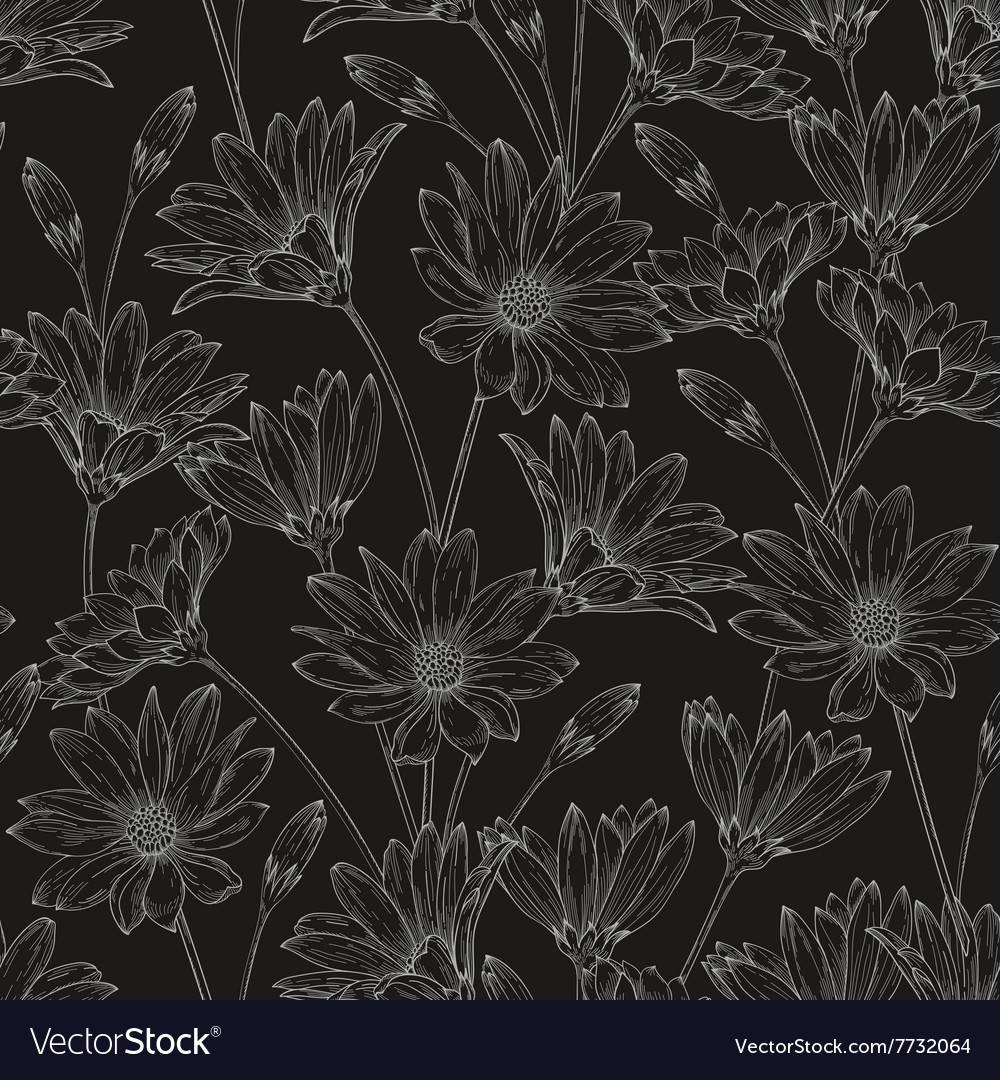 Seamless floral pattern with contours daisies