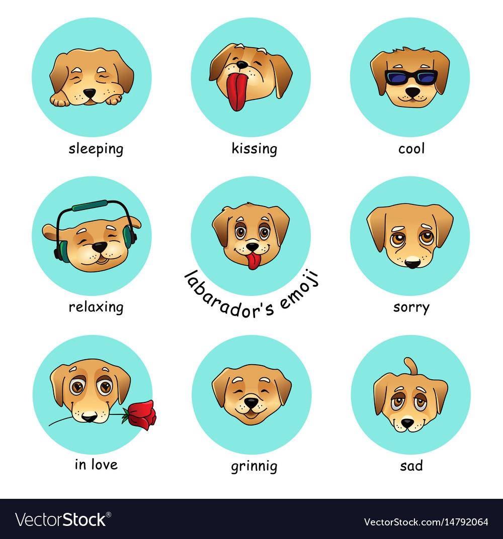 Set of round stickers emojis with dog