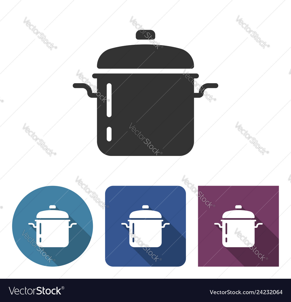 Stew pan icon in different variants with long