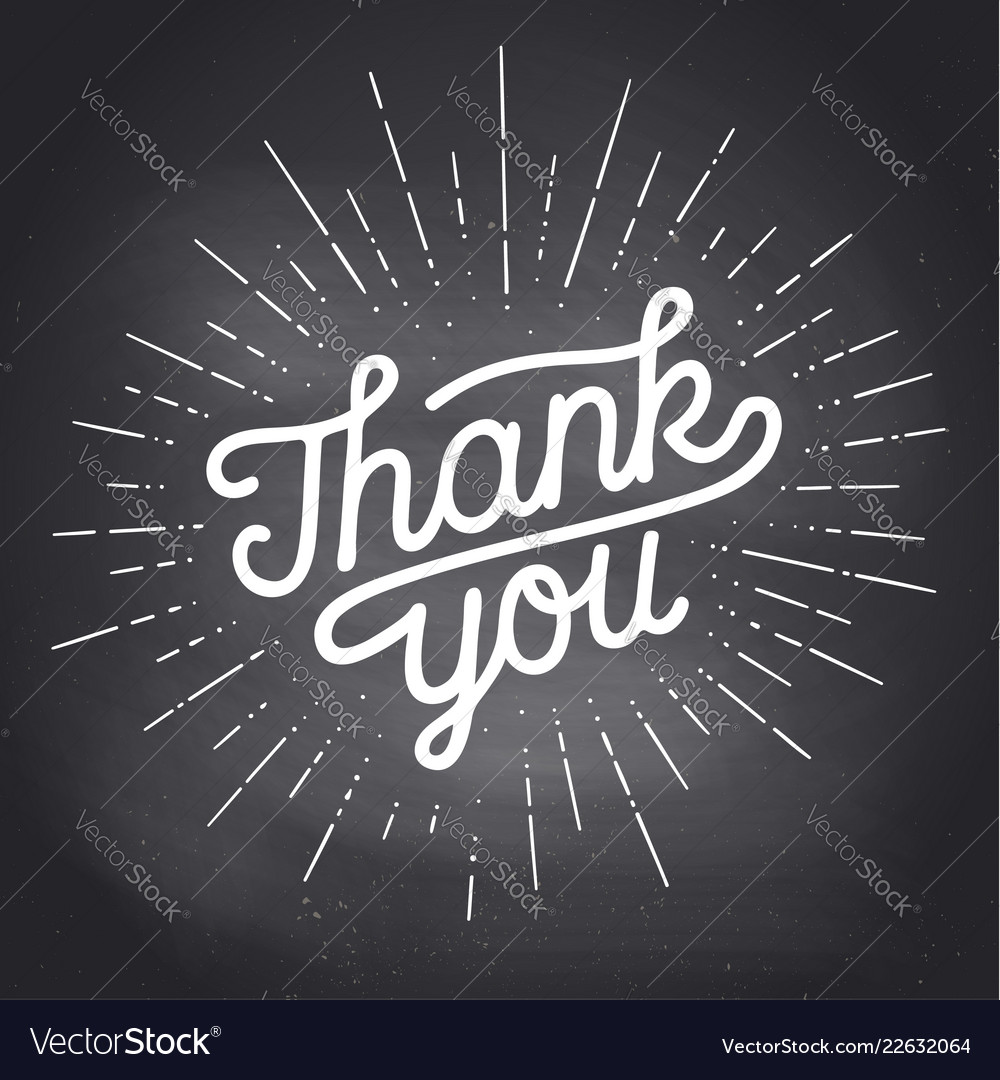 Thank you hand lettering thank you with sunburst
