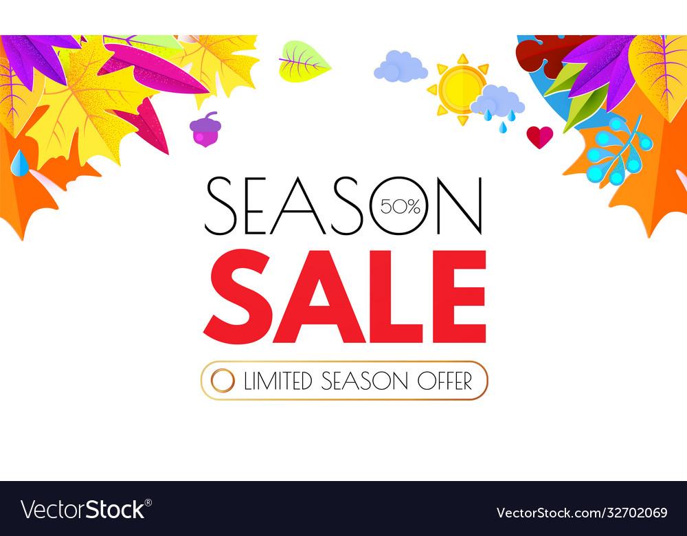 Autumn sale seasonal offer poster template