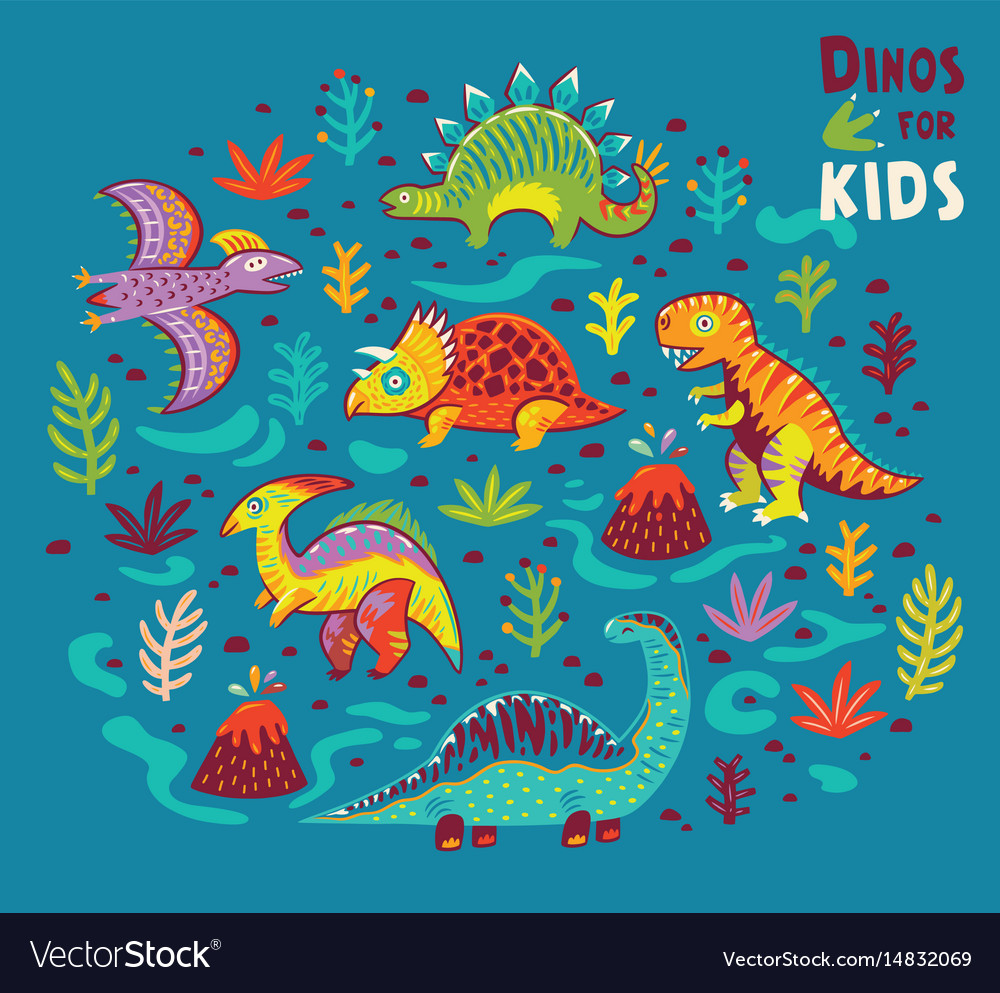 Cartoon dinosaurs collection in vector image