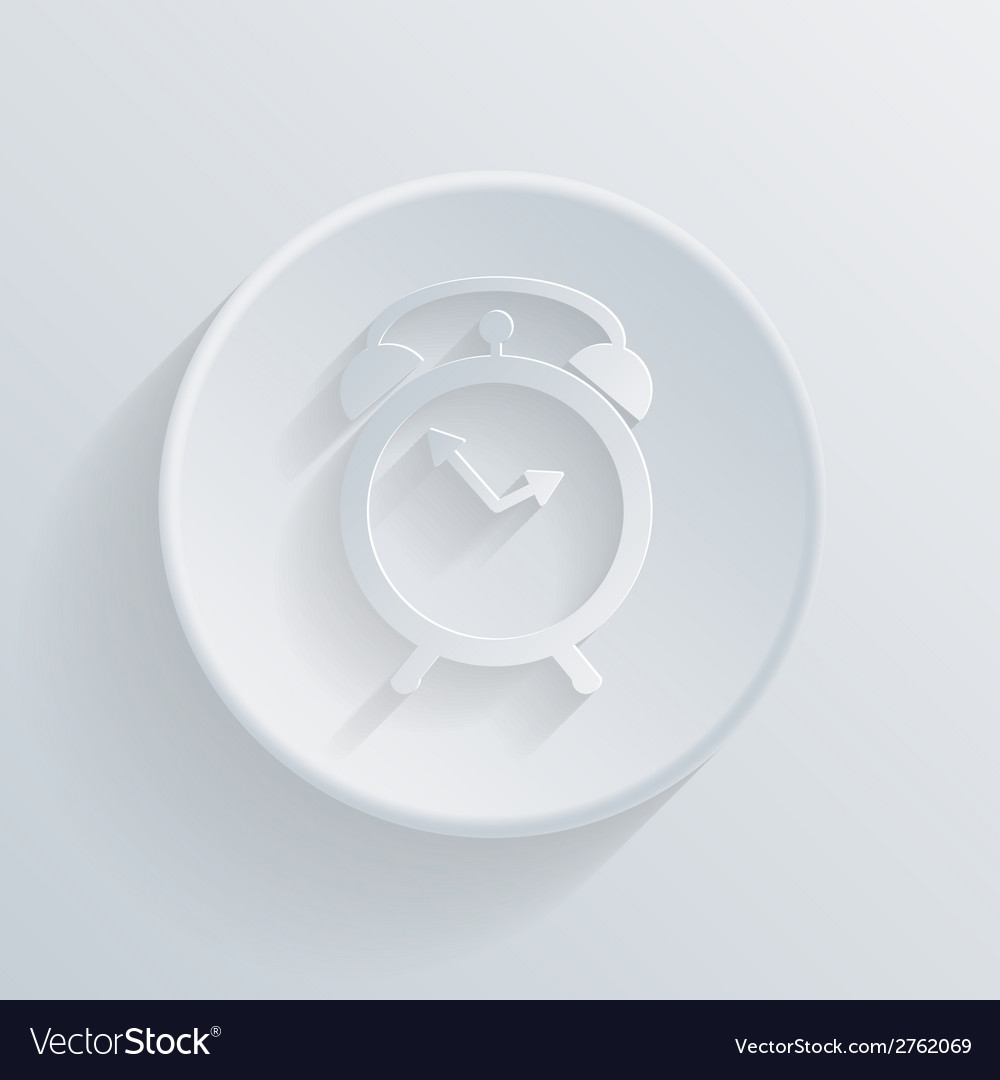 Circle icon with a shadow alarm clock