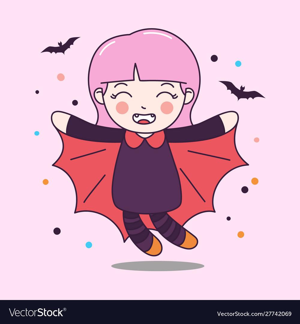 Cute dracula girl fly with bat