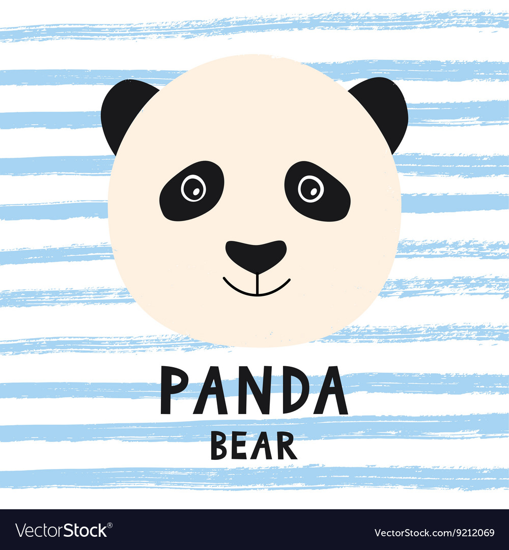 Cute Panda Bear Head With Kids Style Text Vector Image