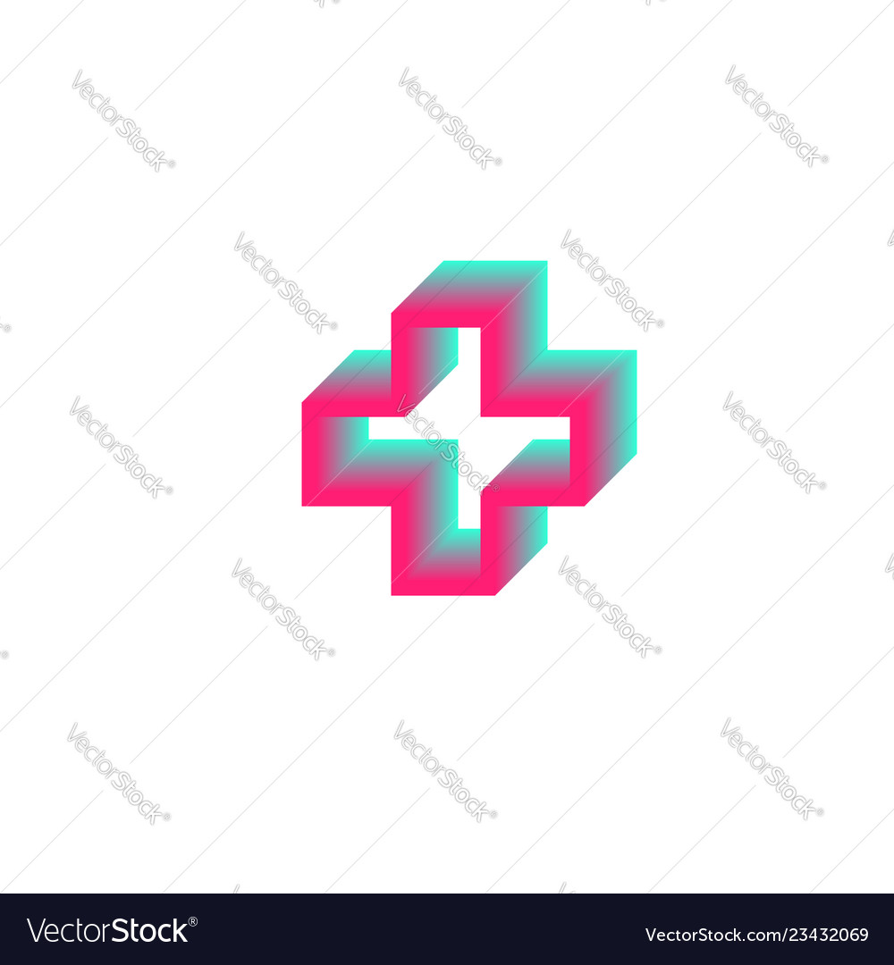 Gradient contour cross logo health medical symbol