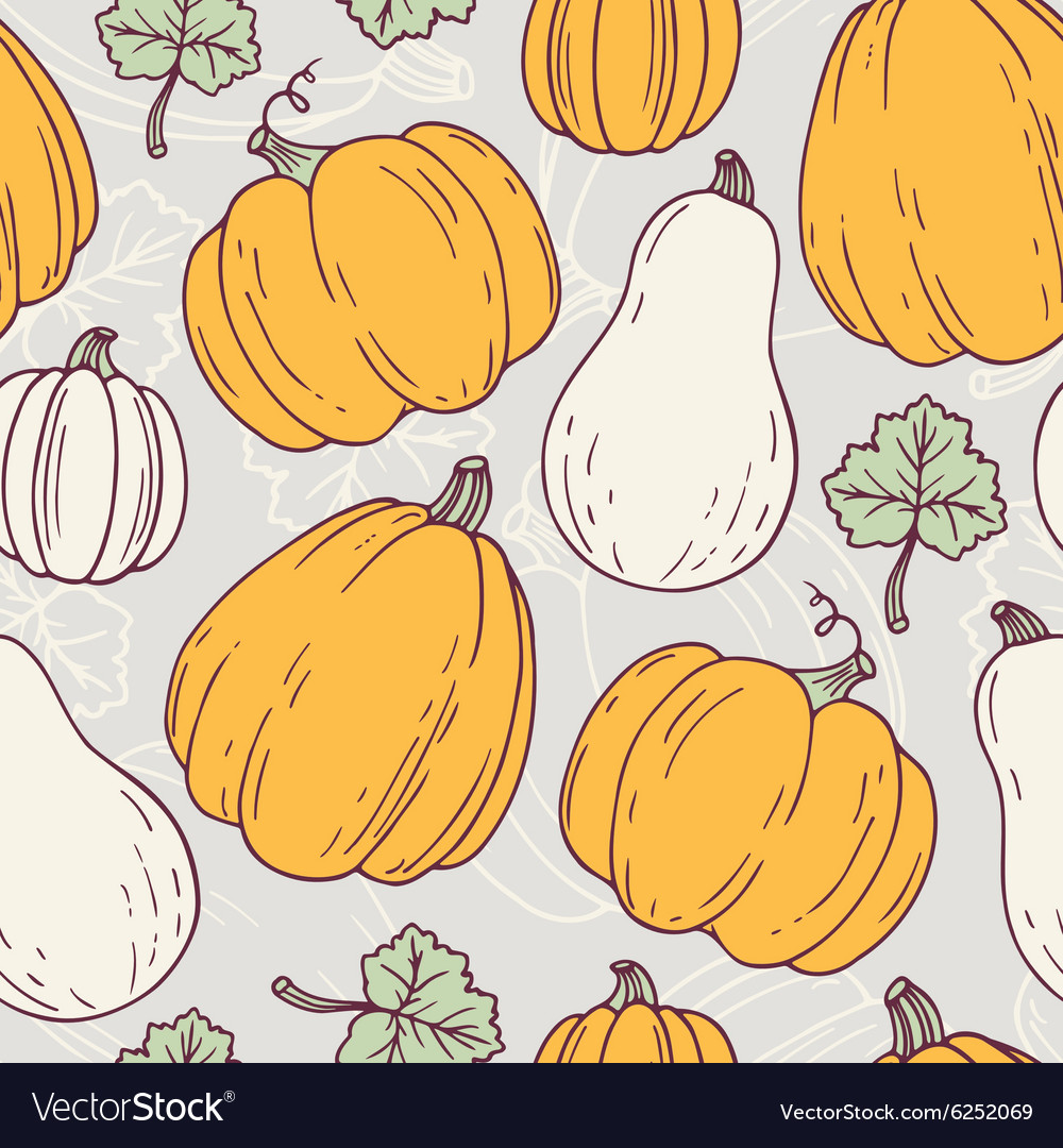 Hand drawn halloween seamless pattern with