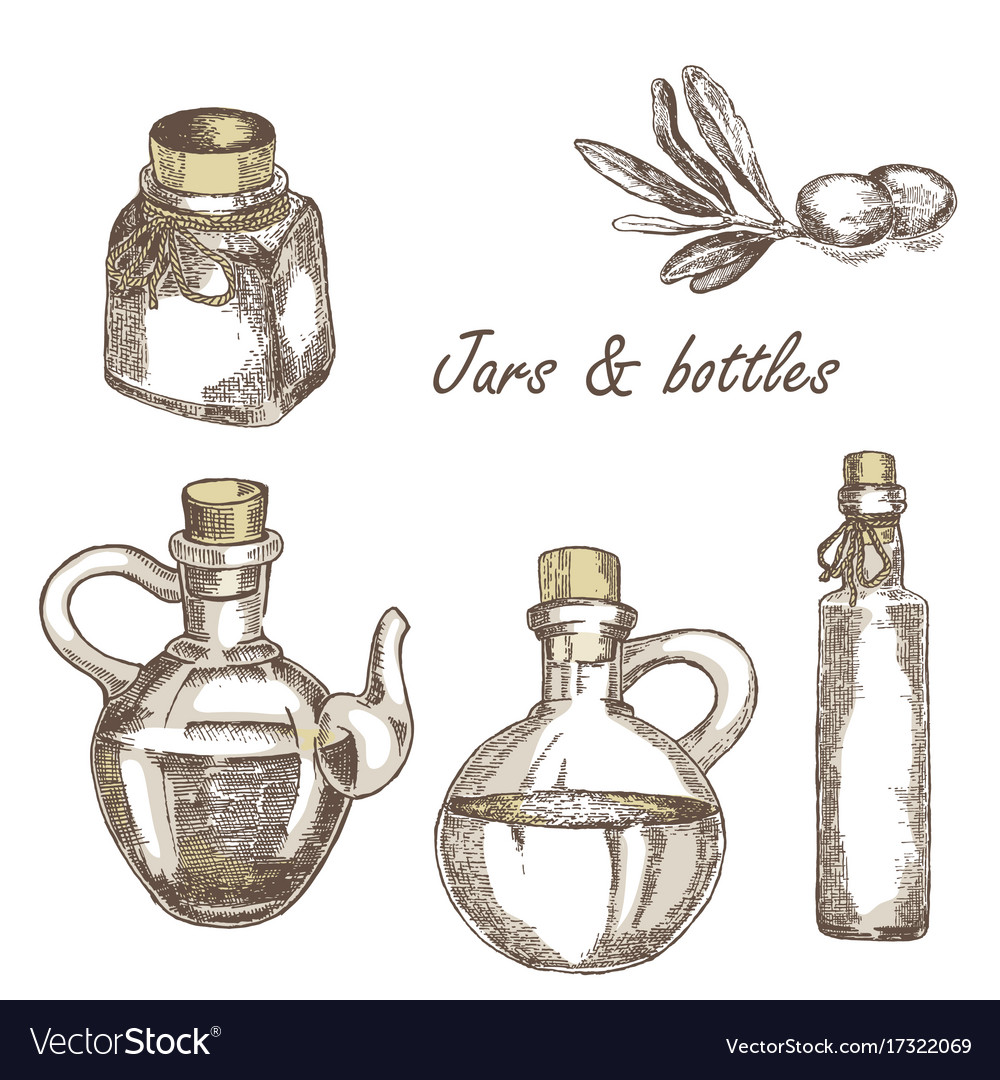 Hand drawn jars and bottles