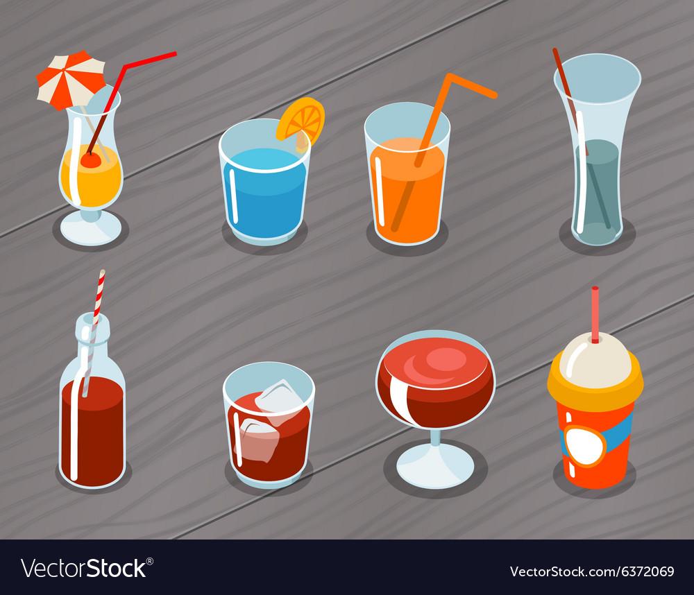 Isometric 3d drinks icons