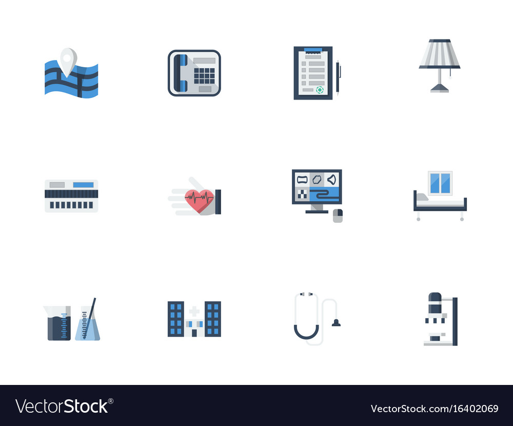 Medical services flat color icons set vector image