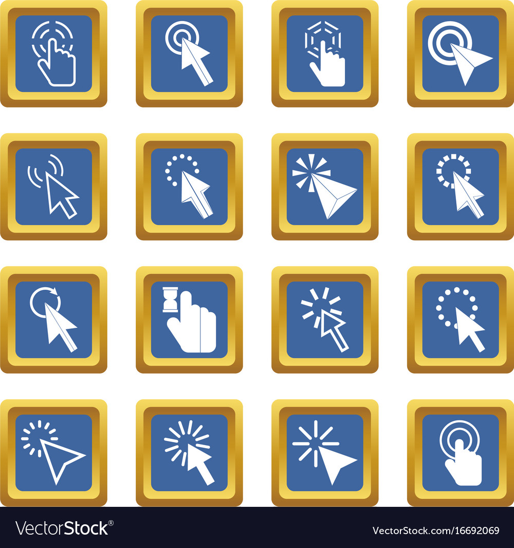 Mouse pointer icons set blue
