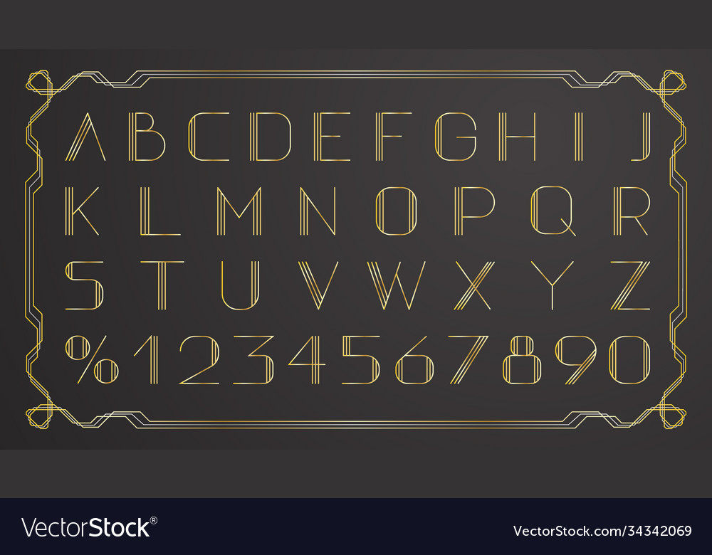 Retro gold thin retro font on black background