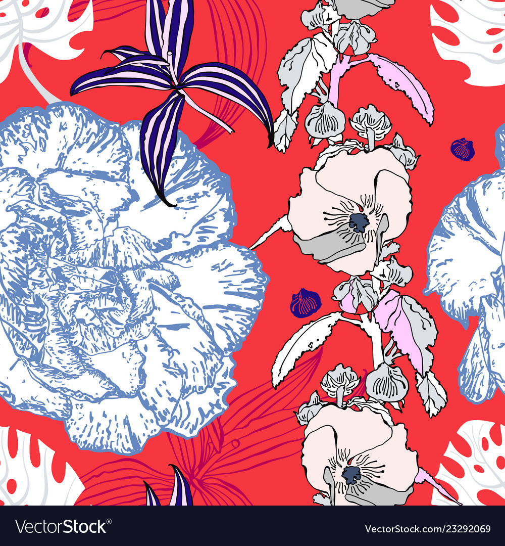 Seamless flower pattern realistic floral sketch