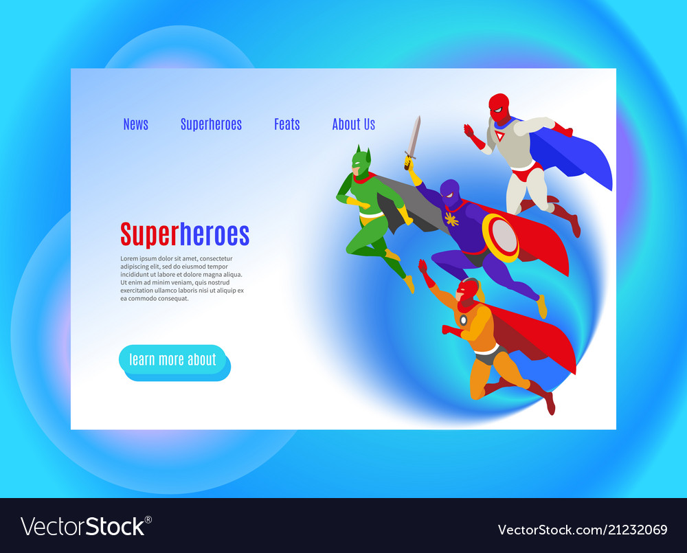 Super heroes isometric web page