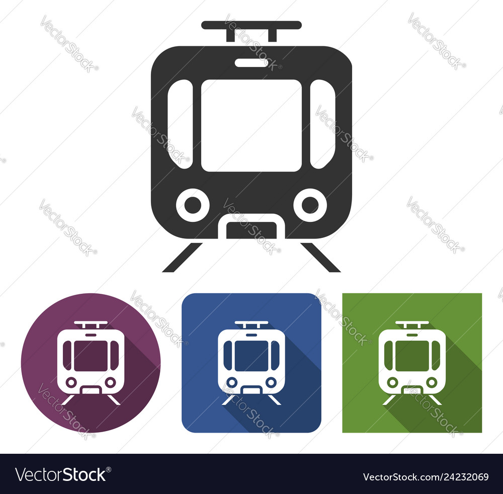 Tram icon in different variants with long shadow