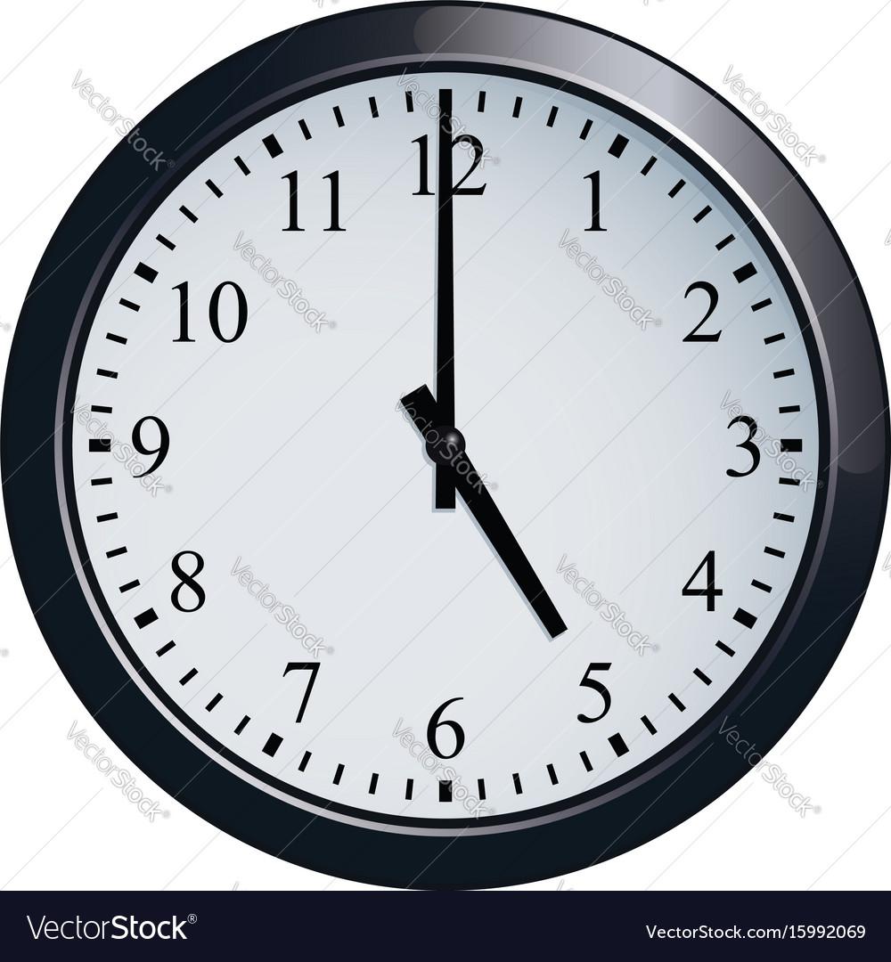 Wall Clock Set At 5 O Clock Royalty Free Vector Image