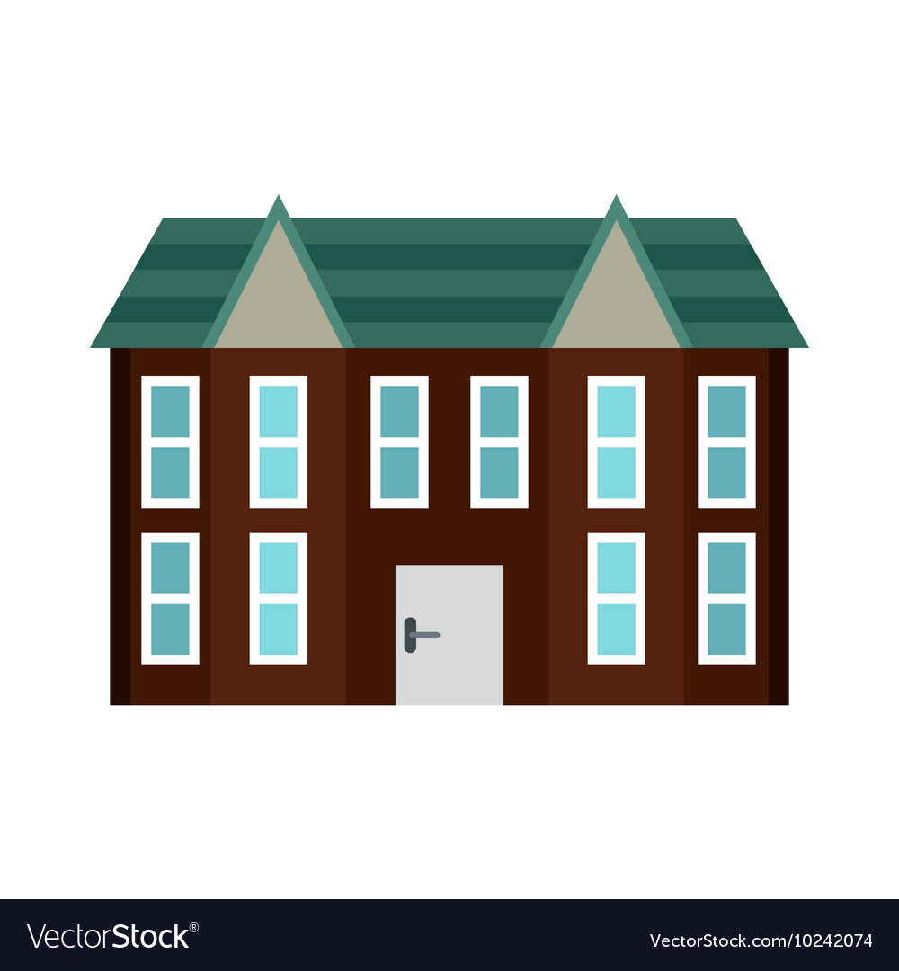 Brown two storey house icon flat style