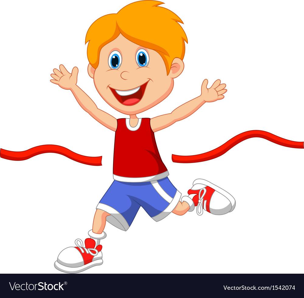 Cartoon boy ran to the finish line first