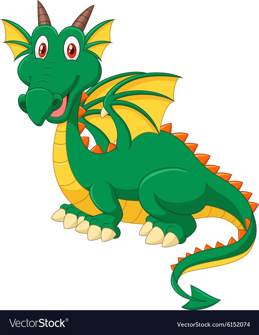 Cartoon Happy Green Dragon Royalty Free Vector Image