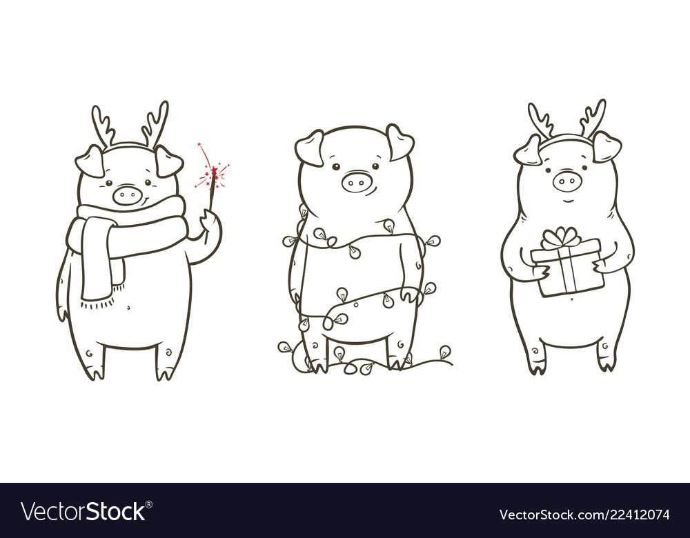 Cute with three funny piglet