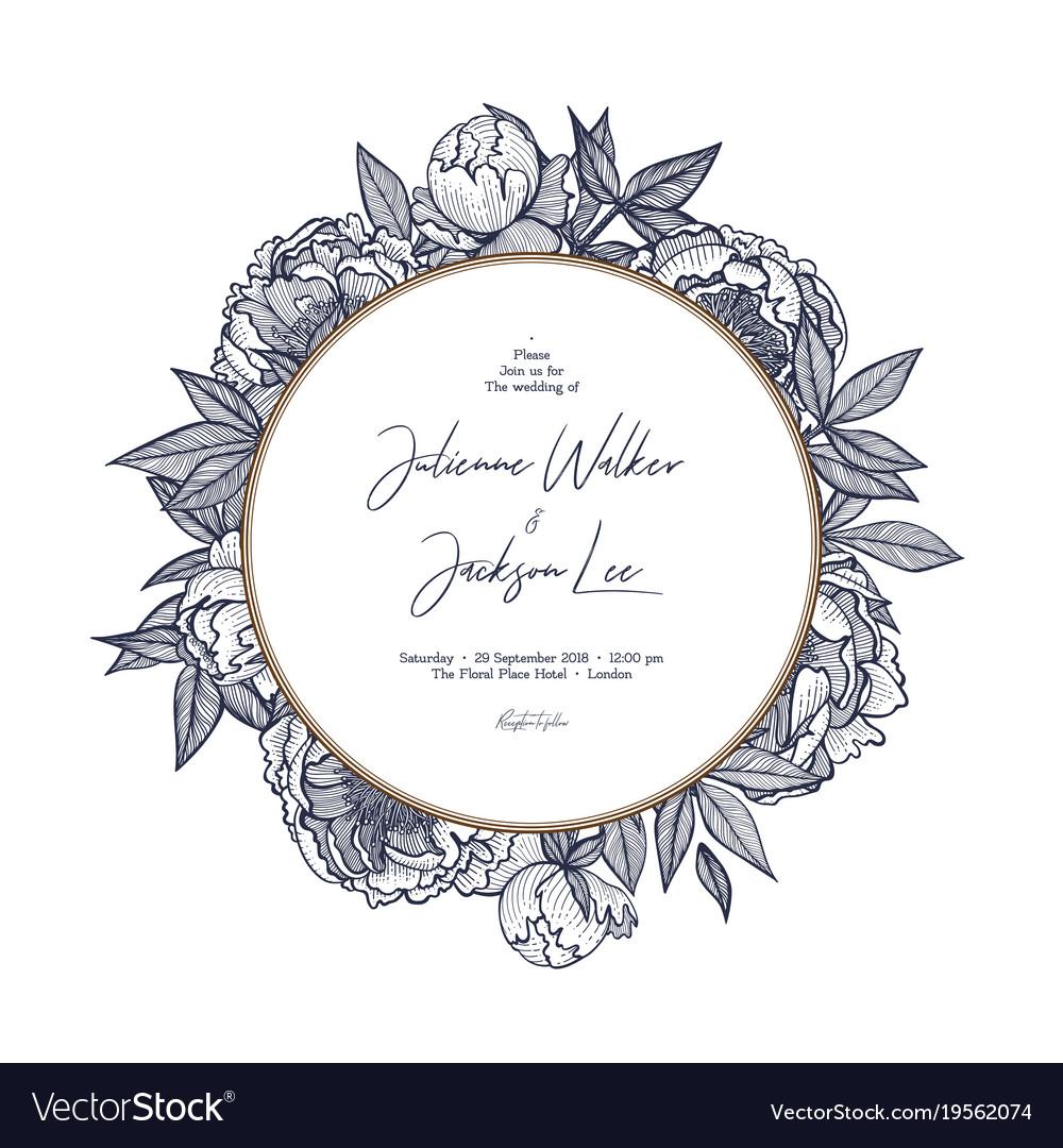 Botanical wedding invitation card template design vector image.