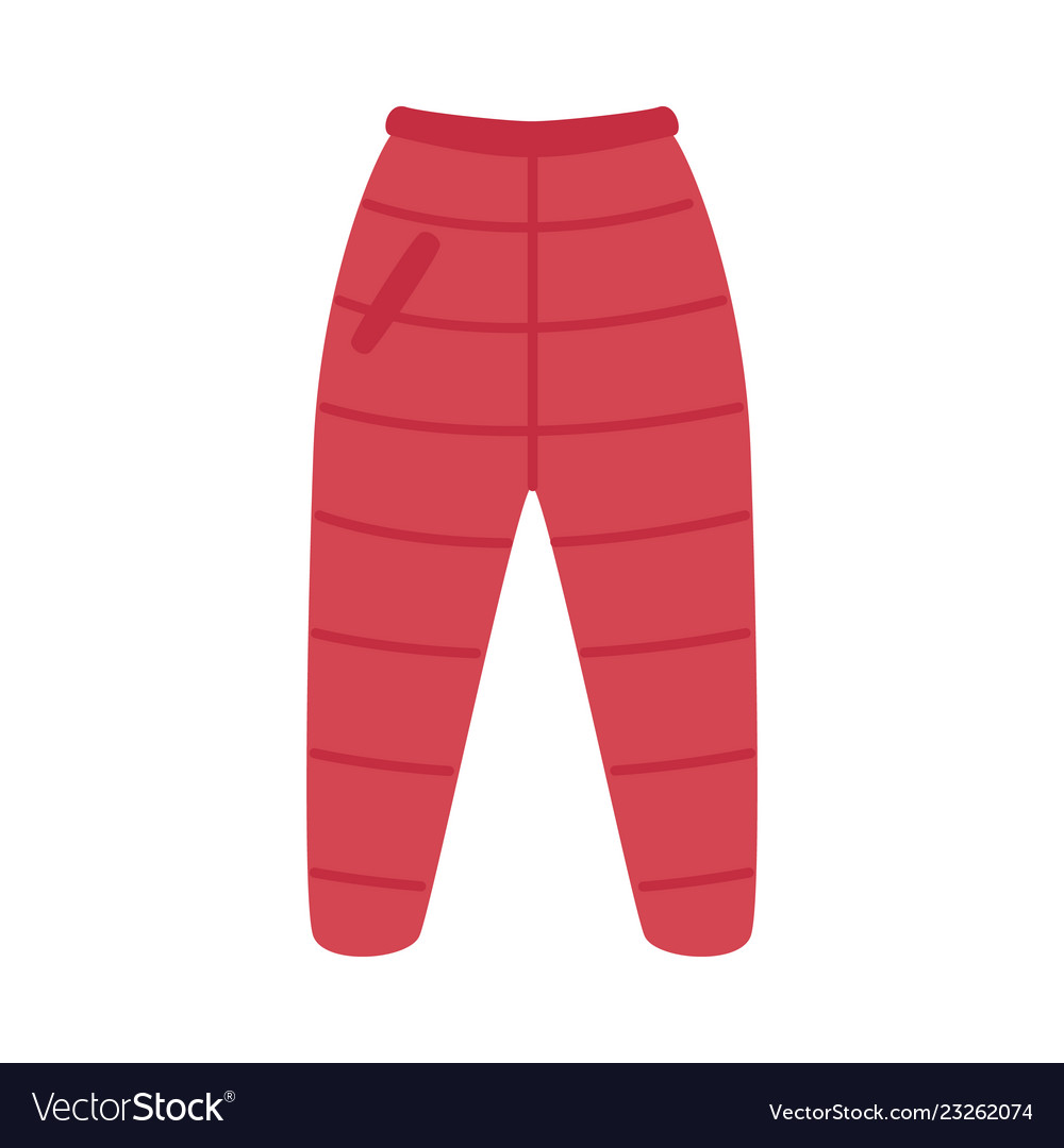 Flat red warm trousers pants icon
