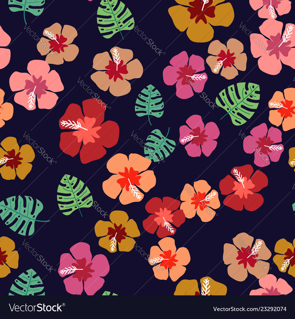 Floral paradise tropic seamless pattern with