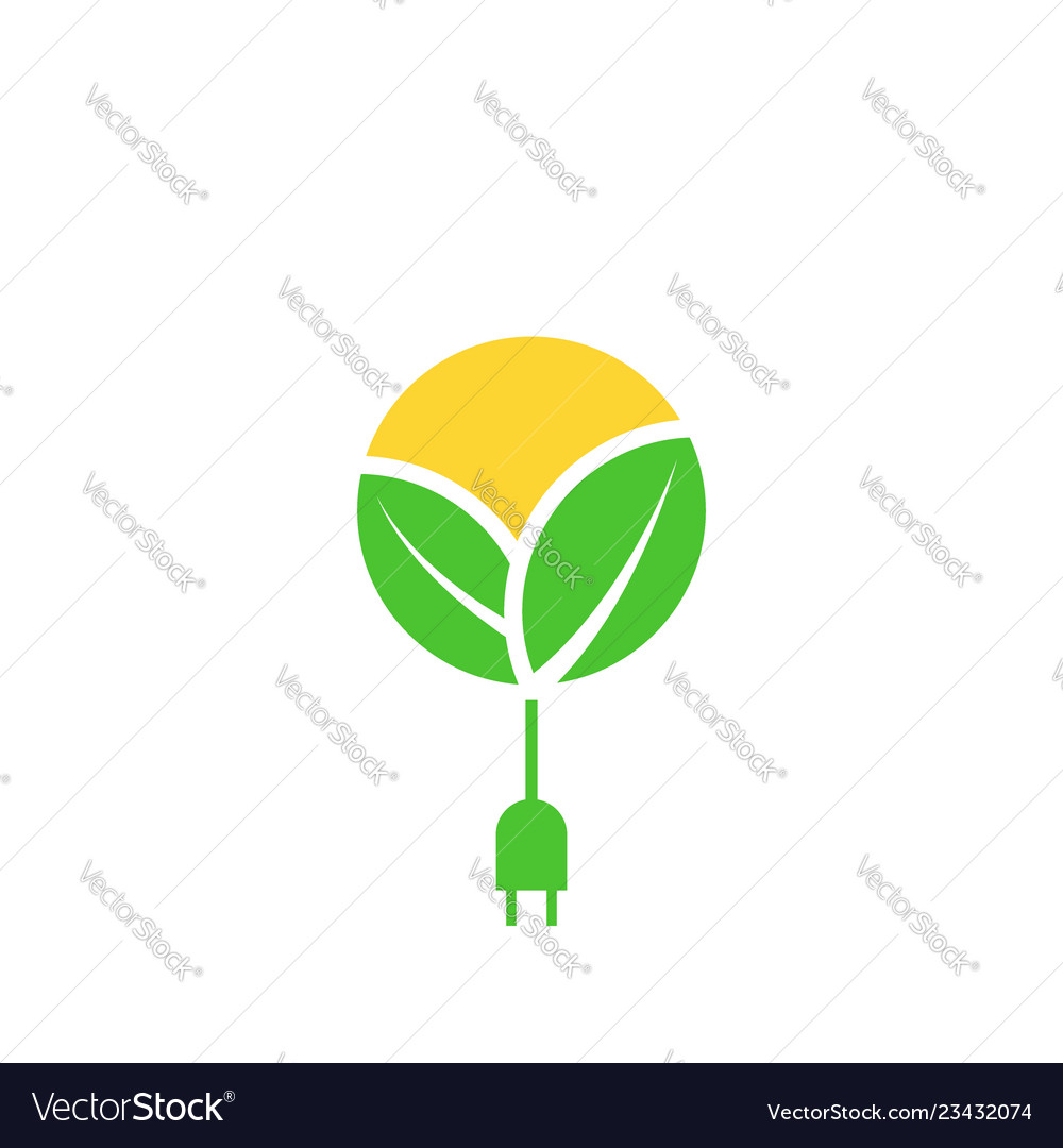 Green renewable energy logo leafs sun with cable