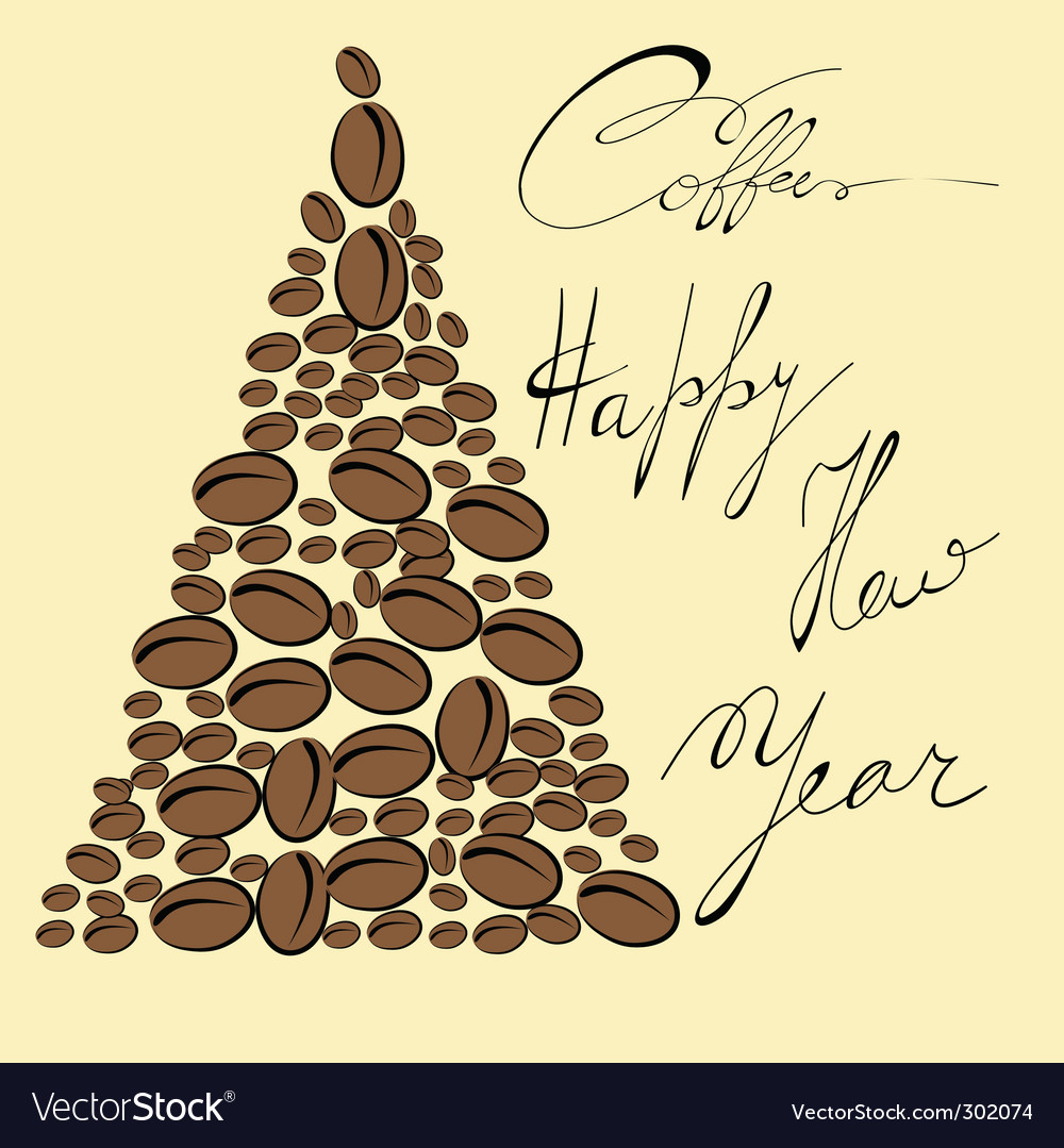 Coffee Christmas Cards.Greeting Card With Coffee Bean
