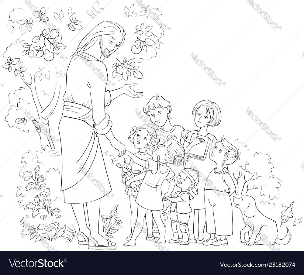 Jesus with children cartoon coloring page
