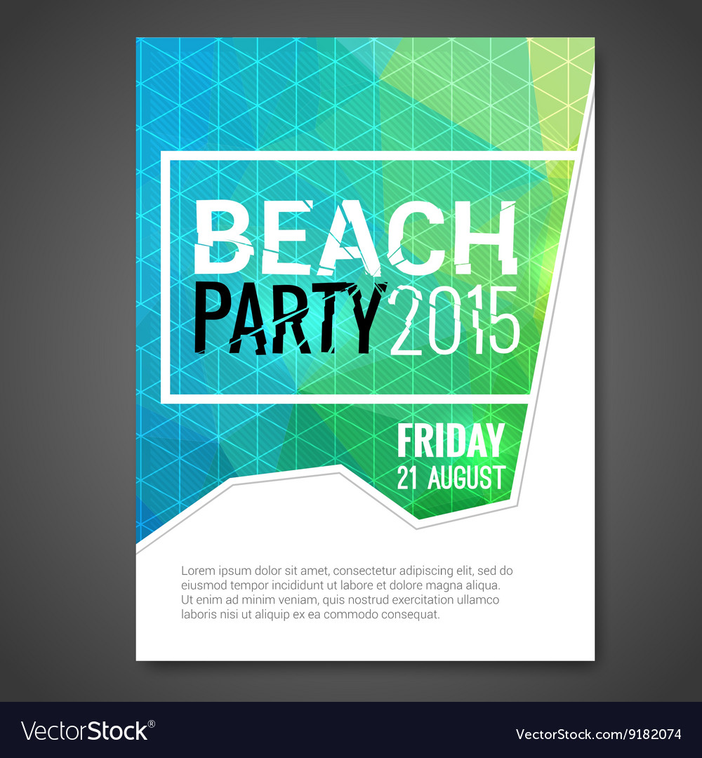 Summer Night Beach Party Flyer Template Royalty Free Vector