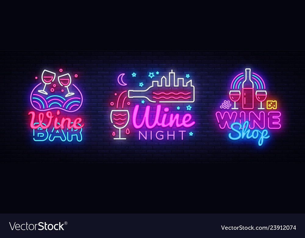 Wine neon signs set design template big