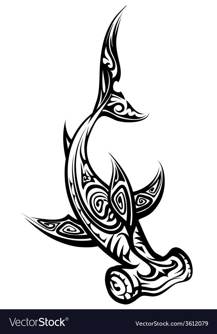 3ca3967977597 Black and White Hammerhead Shark Polynesian Tattoo vector image