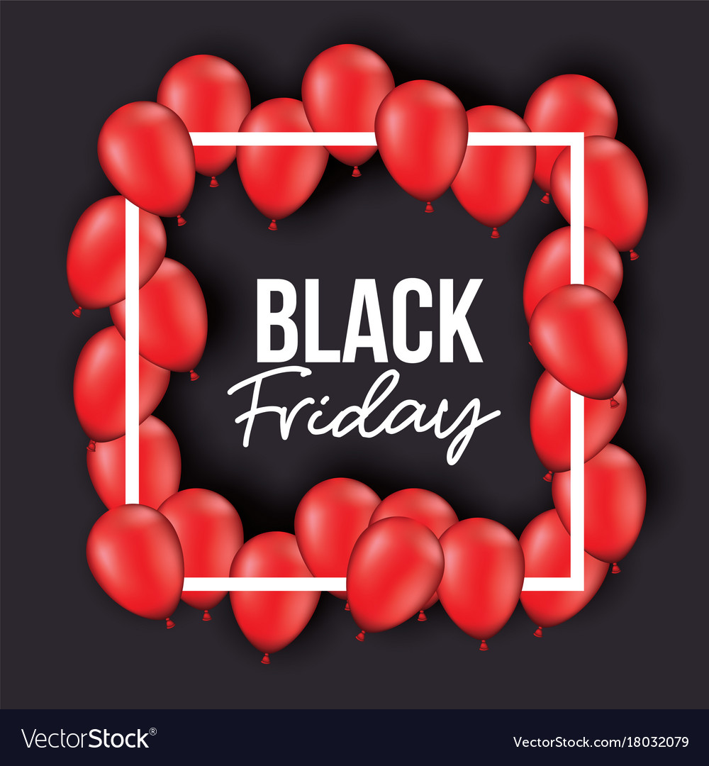 Black friday poster with white frame with red