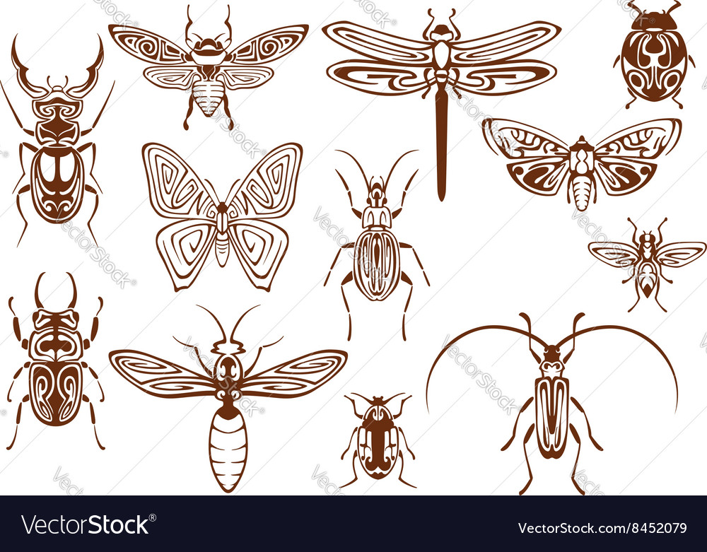Brown tribal insects for tattoo or mascot design