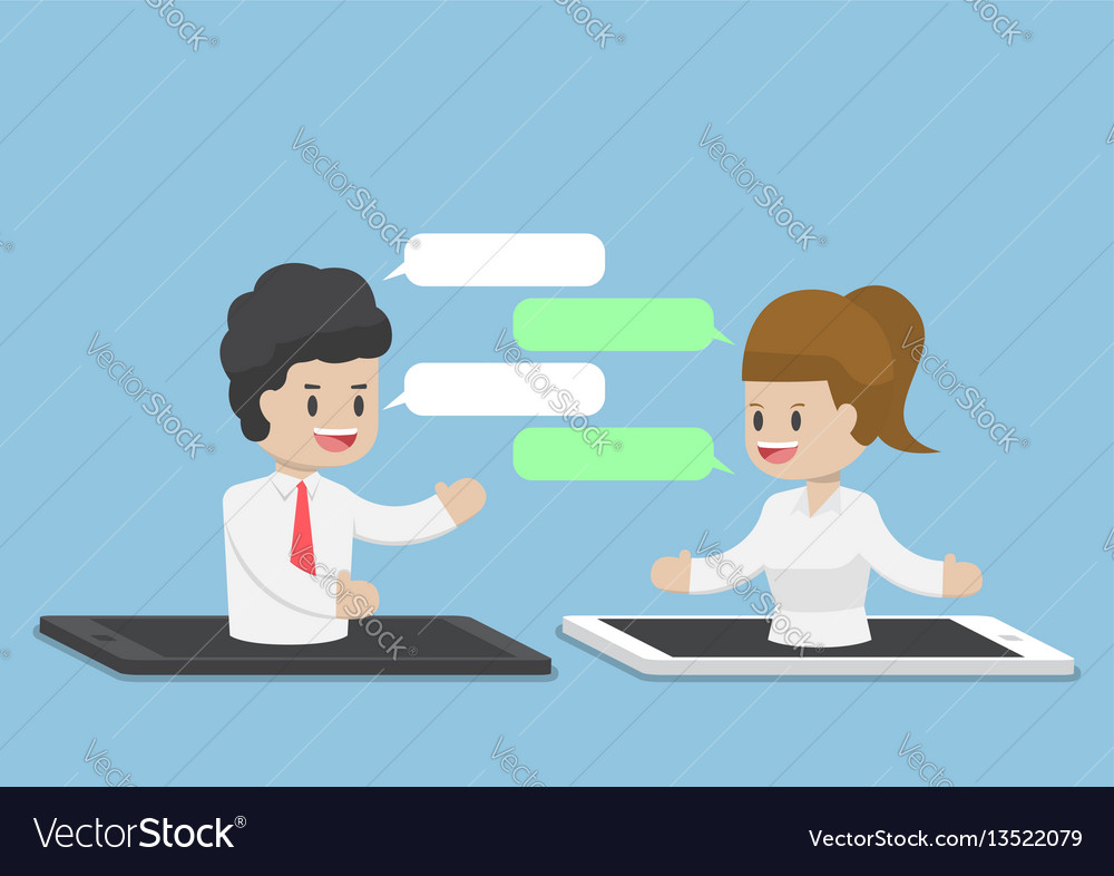 Business people chatting through smartphone or vector image