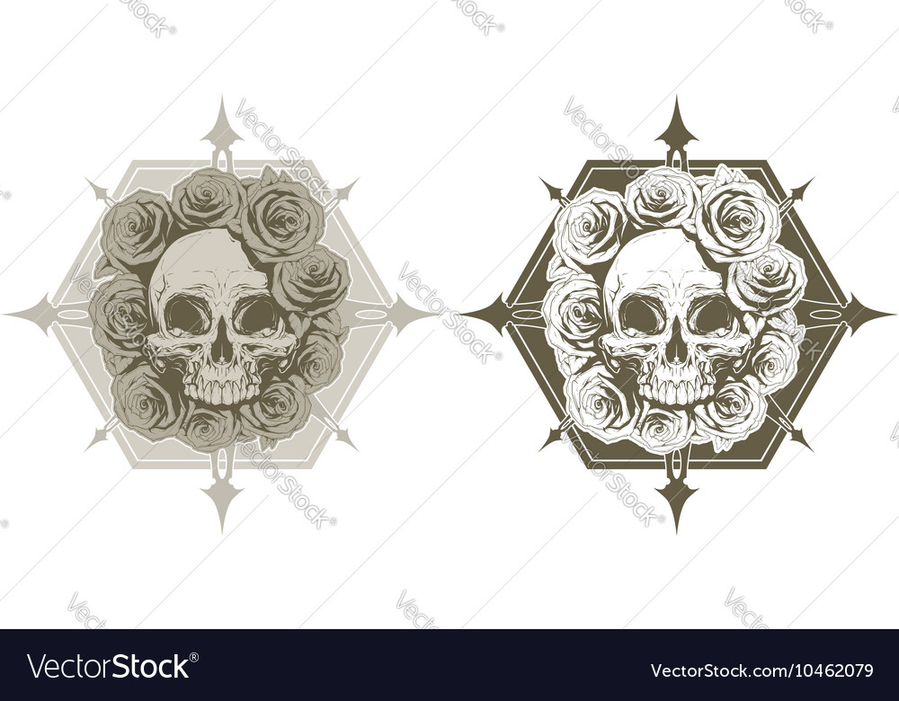 Cool skull with roses and spikes tattoo set