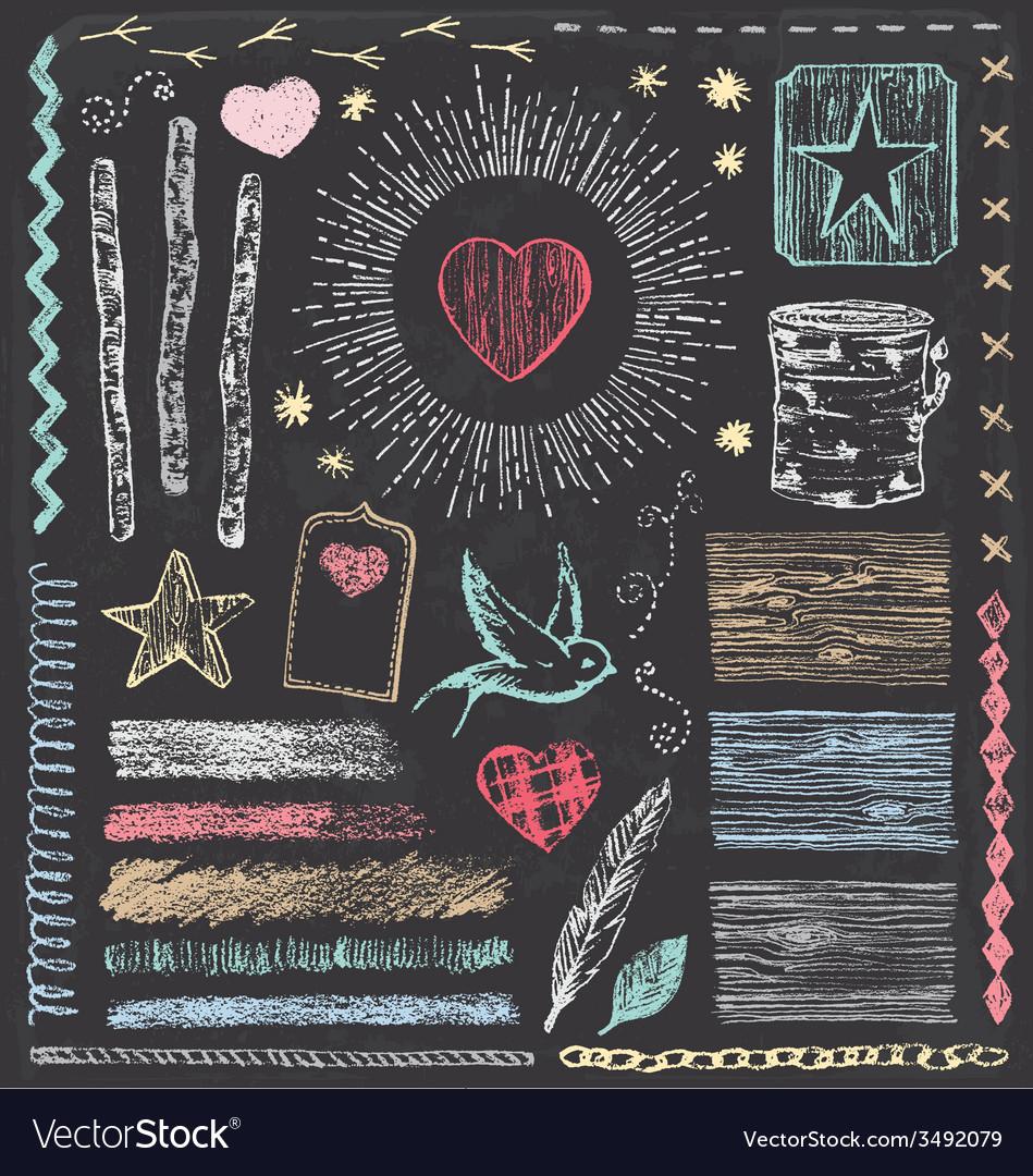 Hand Drawn Vintage Faux Bois Chalk Elements Set