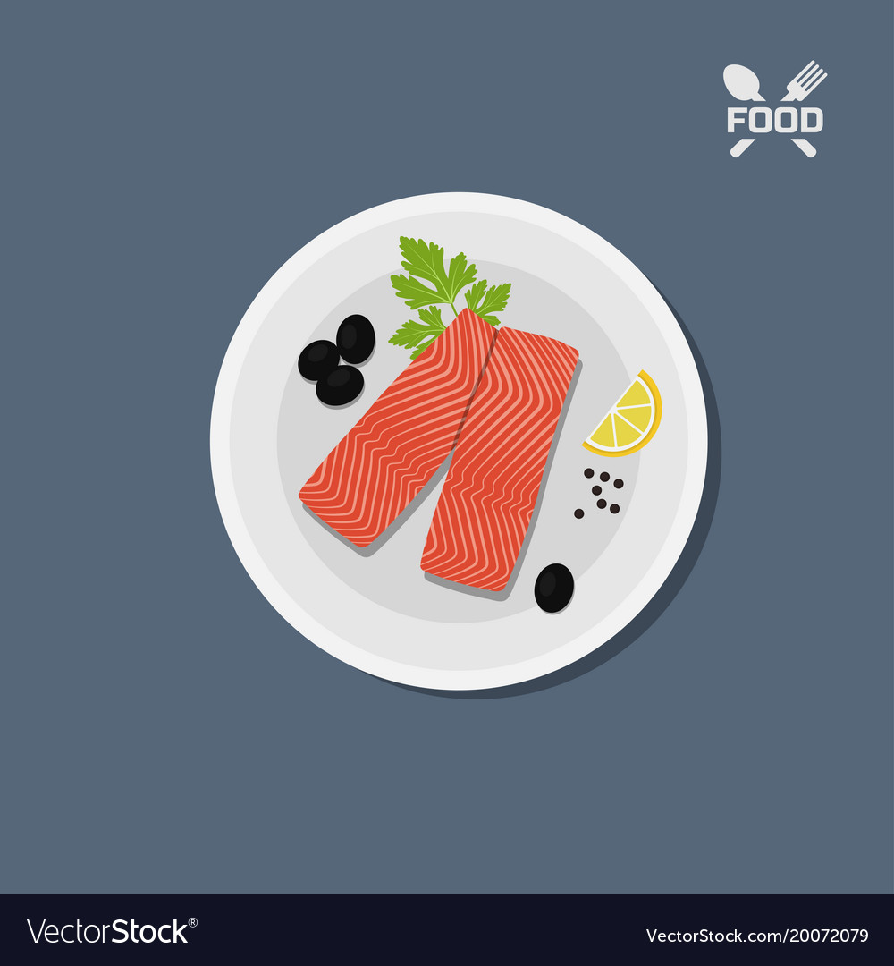 Icon of salmon fillet on a plate top view