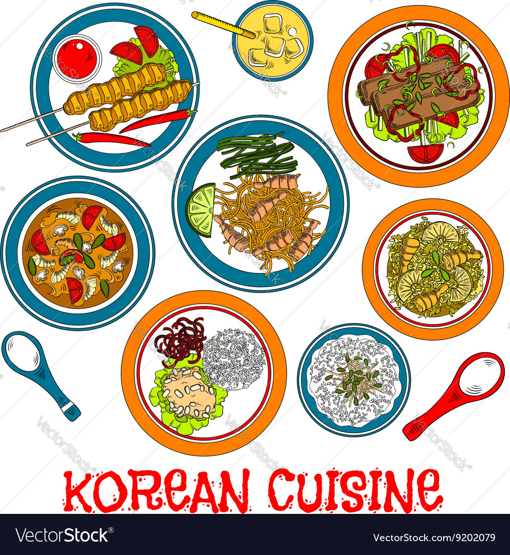 Korean grilled meat and seafood dishes ...