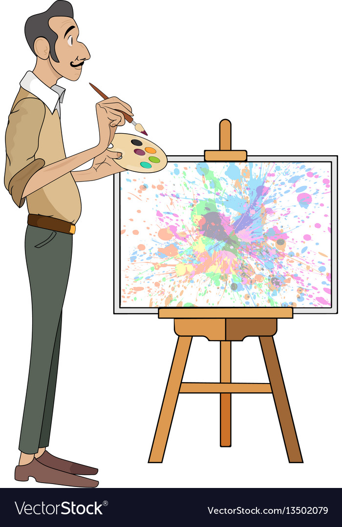 Portrait of male painter artist and mustache vector image
