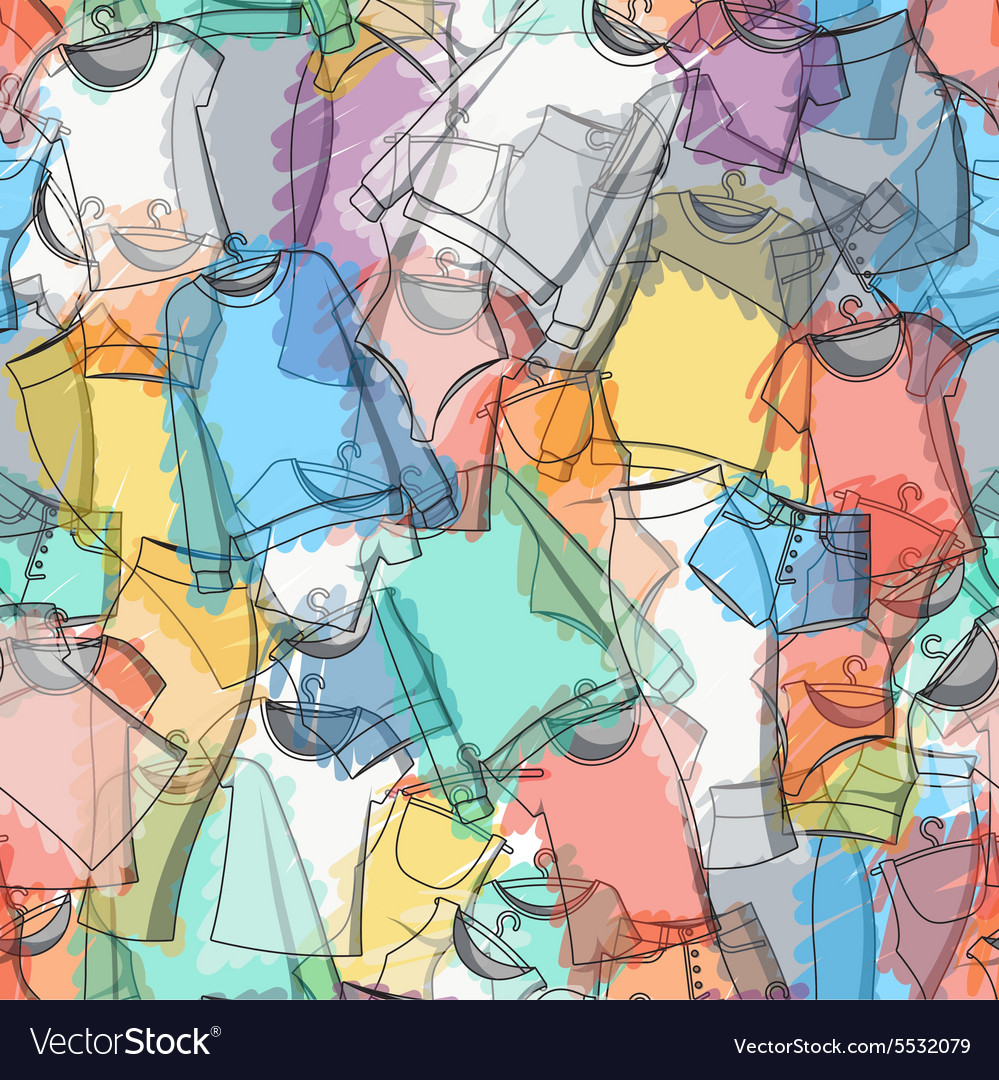 Seamless pattern of colorful clothes for stylish