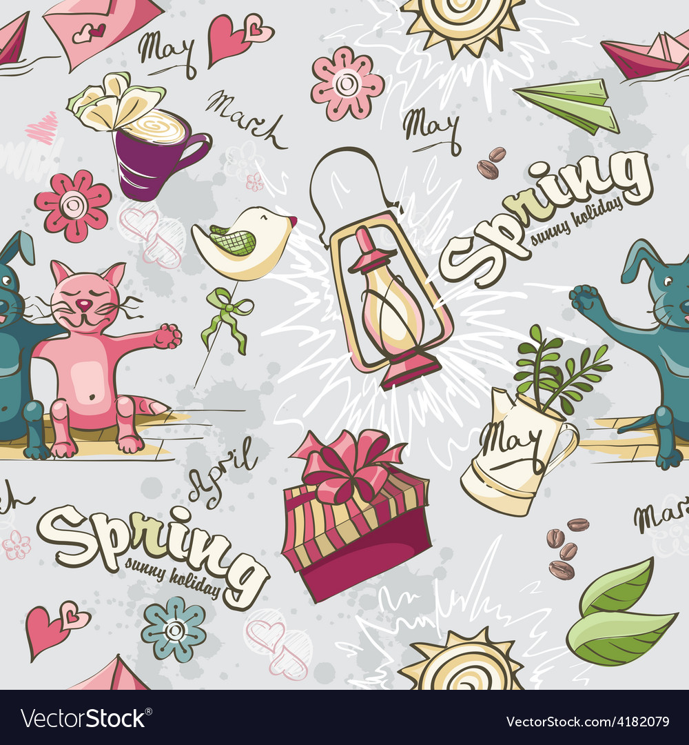 Seamless texture of colored spring doodles on a