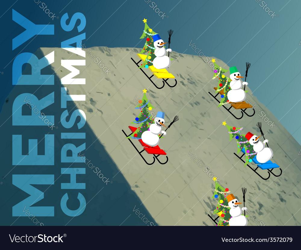Snowmen skating down the hill vector image