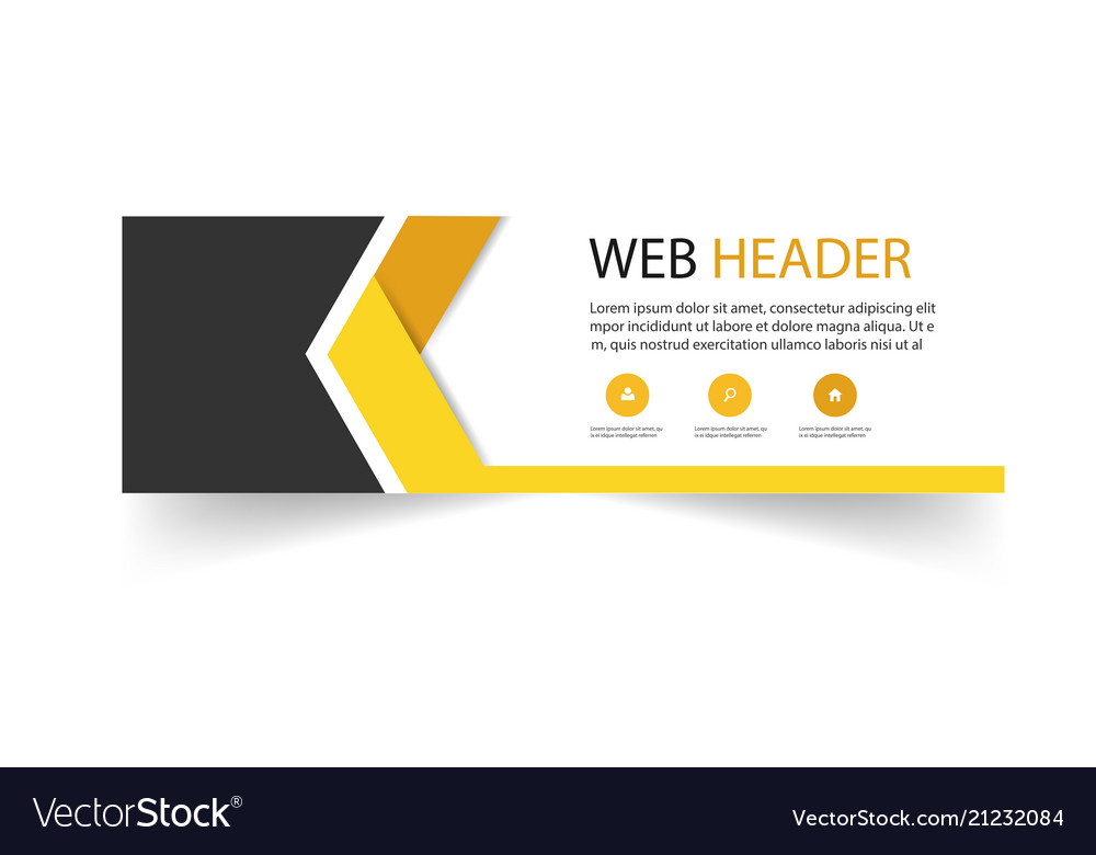 Abstract web header arrow design yellow black back
