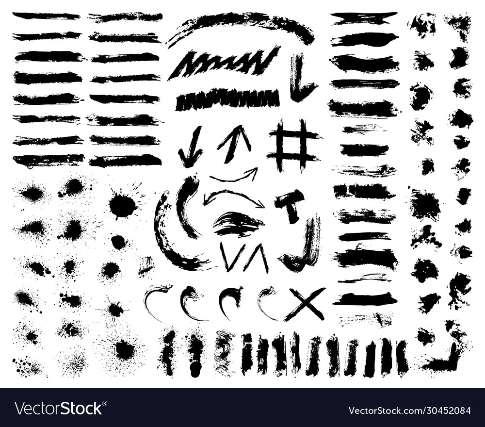 Big black brushes collection paint brush splashes vector