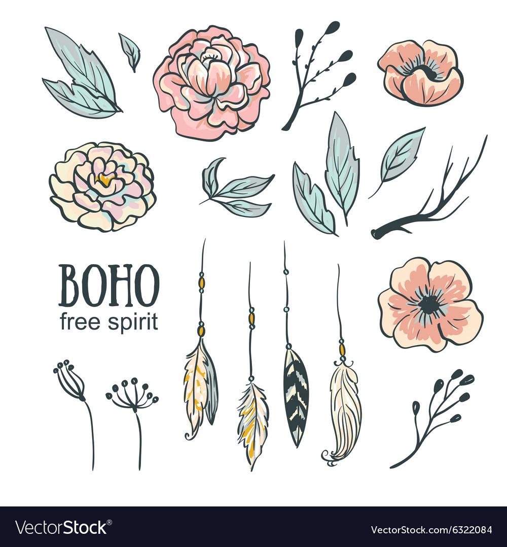 Boho style wedding invitation elements set Flowers