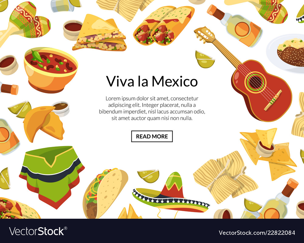 Cartoon mexican food background with place