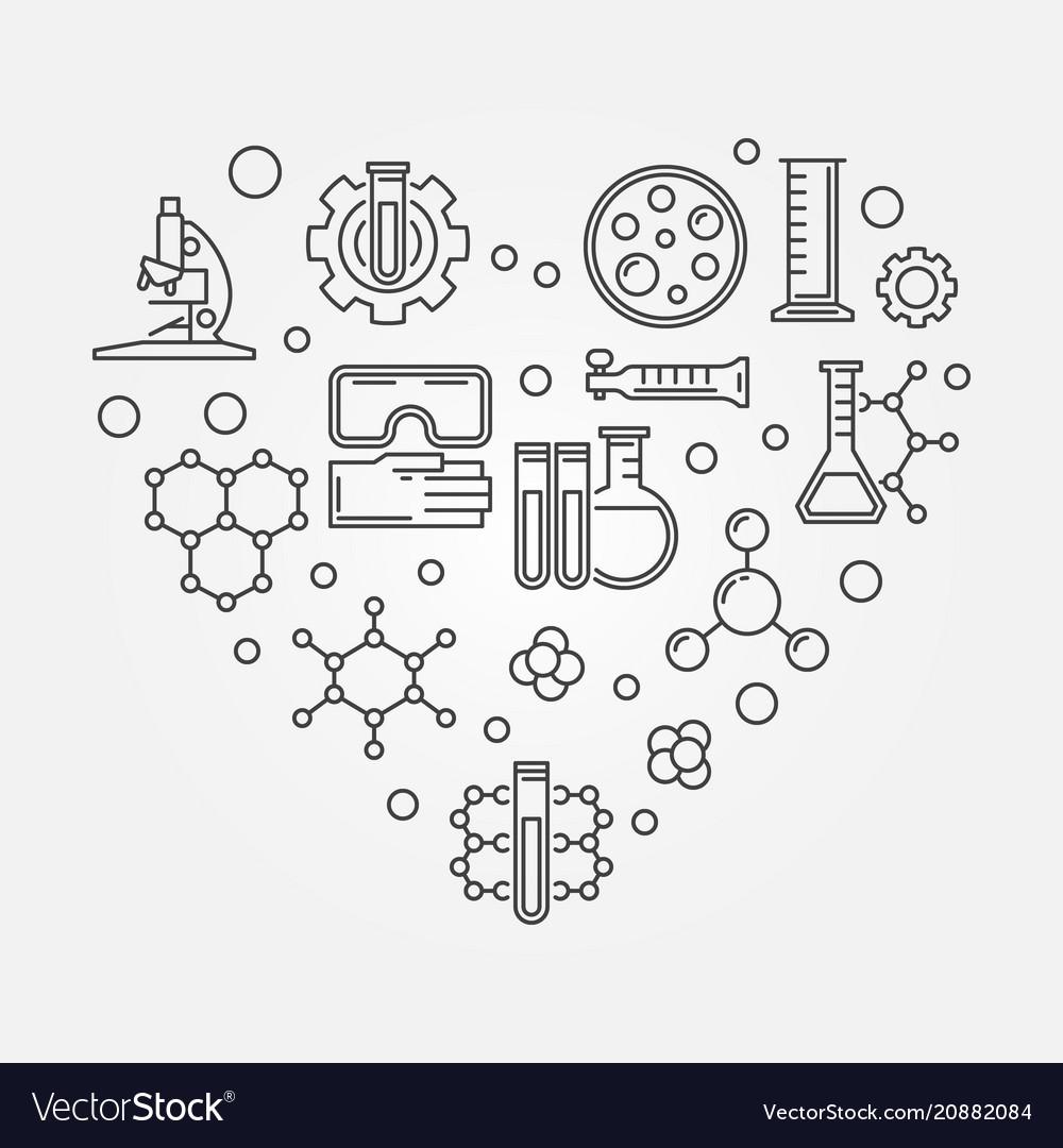 Chemistry heart creative symbol chemistry vector image