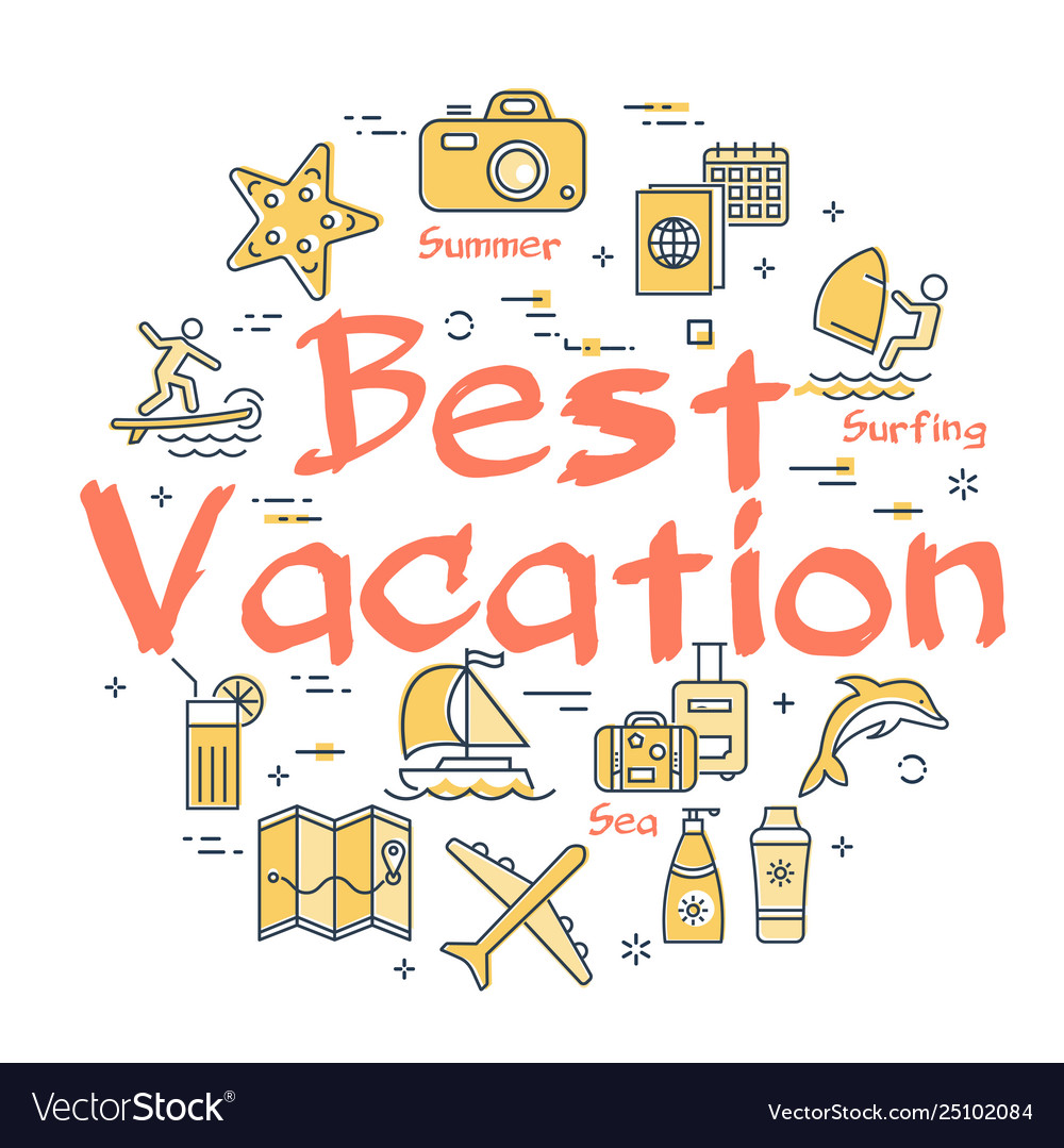 Colorful icons in summer best vacation theme